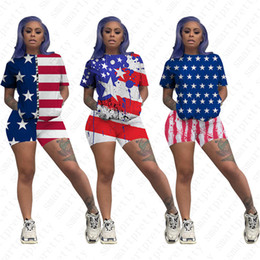Trainingsanzüge usa online-2020 Frauen-Sommer-Shorts Anzug US USA Amerika-Flagge Freiheitsstatue Druck-T-Shirts Short Sleeve Sport Freizeit-Outfits TracksuitD52702