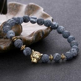 2019 pietra blu della porcellana Bracciali testa di leopardo in pietra naturale agata braccialetto di perline braccialetto braccialetto gioielli moda di design per le donne uomini trasporto di goccia