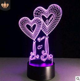 Creative Love 3D Lampada da notte a sette colori USB Light San Valentino regalo 3D Stereo Vision Lamp Touch da lampada di luna gialla fornitori