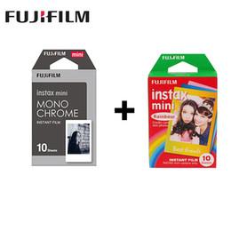 instax mini câmera polaroid instantânea Desconto 2 embalagens Mini Instax Film Monocromático + Rainbow Para Polaroid Mini 8 7s 7 50s 50i 90 25 Partilhar SP-1 Instant Camera