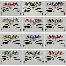 Pegatinas cara de mujer online-Etiqueta engomada del diamante Bohemia Style Glitter Crystal Tattoo Stickers para mujeres Cara Frente Frente Paster Decoraciones de la boda 13 estilo RRA1183