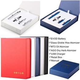 2019 evod vape pen Magic 3 in 1 E Zigaretten Starter Kit Tupfer Wachs Vaporizer 650mAh 900mAh 1100mAh Vape Pen EVOD Batterie MT3 AGO Glass Globle Vape Patronen günstig evod vape pen