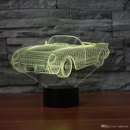 Chevrolet geschenke online-Chevrolet Corvette 3D Illusion Nachtlicht Touch 7 Farbwechsel Wohnkultur Baby Mädchen Junge LED Lampe Kinder Geschenk Weihnachten Weihnachtsgeschenke