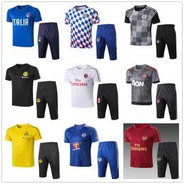 5f0a5d08d1cc4 adidas nike Manchester United AC Milan 2018 2019 barcelone Chelsea Arsenal  costume de football homme à manches courtes 3/4 pantalon de survêtement  shirt été ...