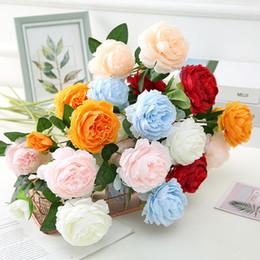 Flores artificiais de haste longa on-line-Artificial Flor Peony 3 Chefes longo de plástico tronco Bouquet Wedding Silk Flowers Garden Party nupcial Peony Decorcoration