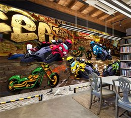 Motocicleta de pintura de carreras online-foto de fondo de pantalla en 3D carreras de motos calle decoración estilo de la pared de fondo de graffiti pintura mural estéreo de encargo del papel pintado