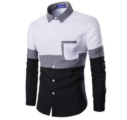 kastenfaltenkleid Rabatt Patchwork Color Designer Herrenhemden Revers Hals Langarm Herren Freizeithemden Frühling Dünne Teenager Fashion Shirts