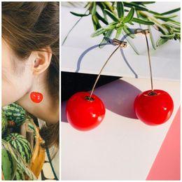 Nova Resina Bonito Romântico Rodada Senhoras Brincos Cereja Frutas Vermelhas Brincos Boêmio Senhoras Moda Jóias cheap resin fruits de Fornecedores de frutas de resina