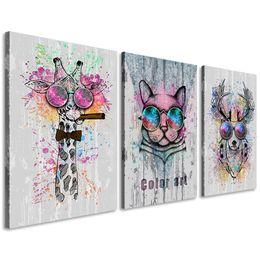 2019 décor d'art mural imprimé léopard Animaux Abstraites Toile Mur Art Girafe Cerf Léopard Couleur Peinture Impressions Décor pour Chambre Salon Salle De Classe Cadeau pour Enfants Encadré décor d'art mural imprimé léopard pas cher