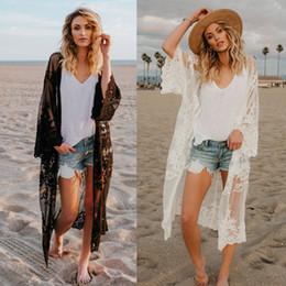 Kadınlar Dantel Hırka Kaftan Şal Coat Plaj Kıyafeti Mayo Cover Up Bluz Pelerin Pareo 2018 Seksi Mayo Tops nereden