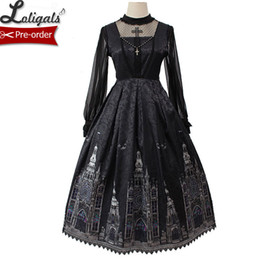 Vestido lolita gótico sin mangas online-Vestido Gothic Lolita Jsk Vestido de fiesta Midi sin mangas con estampado de iglesia de Alice Girl Pre-order T3190614