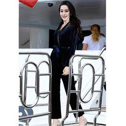 9a4bcd168af High Quality Jumpsuit 2019 Spring Autumn Velour Pant Jumpsuit Women Notched  Collar Bow Belt Patchwork Long Sleeve Jumpsuits