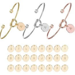 alphabet letters for jewelry Promo Codes - Personalized Initial Letter charm Cuff Bracelets For Women Gold Silver Rose Gold 26 Alphabet Tie knot Open Bangle Fashion Jewelry
