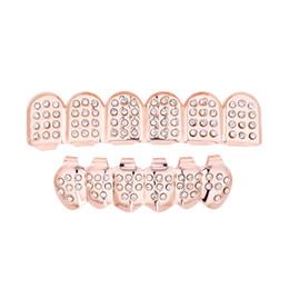 caderas falsas Rebajas Hip Hop Jewelry 6 Dientes inferiores superiores Dientes falsos Grillz Set Bump Lattice Rejillas dentales Body Jewelry Teeth Grillz