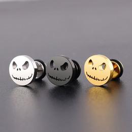 Espárragos del cráneo online-Pendientes de calavera de acero inoxidable de titanio Evil Smile Stud Pendientes Esqueleto de Halloween Ear Stud Piercing Punk Jewelry Mueca para Hombres Mujeres