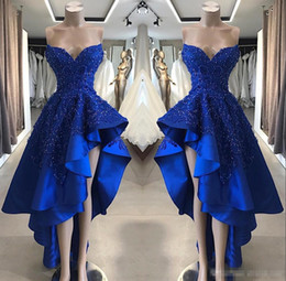 Royal Blue High Low Abiti da sera 2019 Sweetheart In rilievo Del Merletto Applique Ruffles Gonna Estate Homecoming Occasioni Abiti da ballo da