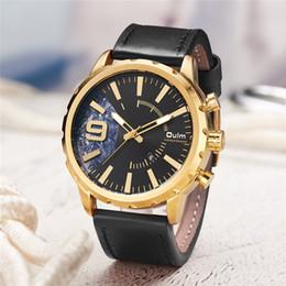 oulm gold Rebajas Oulm Auto Date Reloj de cuero genuino para hombre Reloj de cuarzo para hombre de negocios informal Reloj negro de oro para hombre