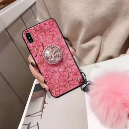 2019 handys rosa farbe Rosa farbe für iphone xs max fall marmorkorngoldfolie für iphone x case designer strass ständer haarballen designer telefonkasten rabatt handys rosa farbe
