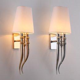 2019 apliques de parede rústica Modern Garra de Ferro Chifre Pano Wall Light Quarto de cabeceira Lâmpada de parede E27 Luminaire dupla deslizante luminárias Sconce Luz