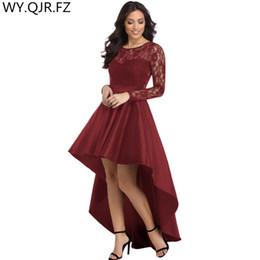 NASY61910 # O-cuello corto delantero y trasero vestidos de dama de honor vino rojo violeta vestido de fiesta de bodas vestido de fiesta al por mayor de las mujeres desde fabricantes
