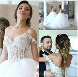 2019 fotos vestidos bolero Vestido de baile Vestidos de Casamento Rendas Apliques Correias Querida Corpete Pérola Corset Frisada Vestidos De Noiva Vestidos De Noiva