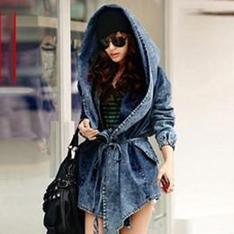 0cdca1d05d3 Spring autumn loose women denim belt waist tight fashion women trench long  coat hooded vintage denim trench coat on sale