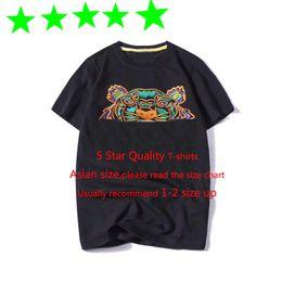 одежда топ-дизайнеров Скидка Лето дизайнер футболки мужские Tops Tiger Head письмо Вышивка T Рубашка мужская одежда Марка коротким рукавом футболки Женщины 5 звезд Tops S-2XL
