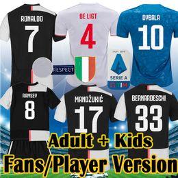 Kit de portero jerseys online-Juventus 2019 2020 Men Kids soccer Jersey Kit Fans Player RONALDO DYBALA PJANIC DE LIGT KEAN child Sets 19 20 BUFFON Goalkeeper Camiseta Maillot