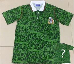 2019 uniforme de mexico verde 1994 Copa Mundial de México Edición retro Camiseta de fútbol Jersey camiseta verde del equipo nacional Fútbol Camiseta de manga corta Uniforme de fútbol Tamaño S-2XL uniforme de mexico verde baratos