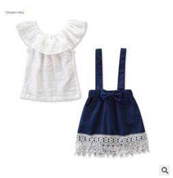 camicetta infantile Sconti Kids Designer Clothes Girls 2Pcs Set di abbigliamento 2019 Summer Infant Toddler Neonate Ruffle Off Shoulder Blouse Top + Lace Bretelle Pants