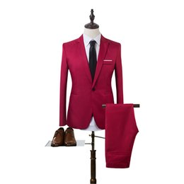 korean mens jackets Coupons - 2018 New Designs Coat Pant Suit Men Solid Color Wedding Tuxedos For Men Slim Fit Mens Suits Korean Fashion (Jackets+Pants)