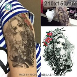 free skull tattoos Coupons - Waterproof tatoo temporary stickers for men women ghost Skull Halloween design large arm tattoo sticker Free Shipping LC2834