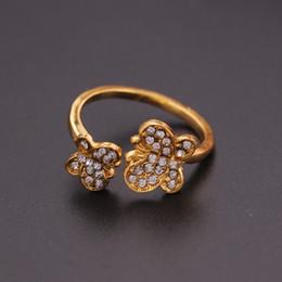 Moda ouro duplo borboleta anéis de cristal para womengirl abertura charme ajustável anel feminino festa de compras de jóias por atacado de
