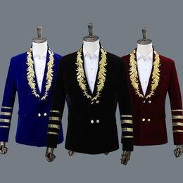 2019 мужские куртки с воротником Men's Shawl Collar Royal Blue Suede Embroidery Loose Suit Jacket Stage Show Singer Double-breasted Men Blazer Designs скидка мужские куртки с воротником