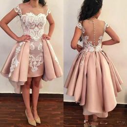 2574399d8 Vestidos de cóctel de baile corto de moda barata con falda larga Apliques de  encaje blanco Vestido de regreso a casa de graduación con manga casquillo  ...