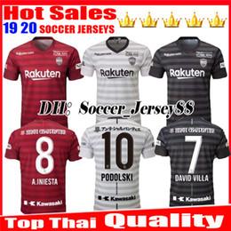 Maillot de villas en Ligne-2019 2020 Top maillot de foot thaïlandais de qualité Vissel Kobe à domicile troisième 19 20 A.INIESTA PODOLSKI DAVID VILLA rouge noir blanc