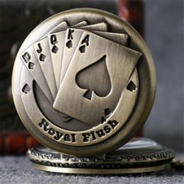 coolste taschenuhren Rabatt Vintage Bronze Royal Flush Poker Design Quarz Taschenuhr Steampunk Coole Halskette Anhänger Uhr für Männer Frauen Dropshipping
