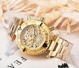 Relojes de logotipo de calidad online-Nuevo estilo suizo cosc marca INVICTA LOGO dial giratorio súper calidad Reloj de hombre Acero de tungsteno Multifunción Reloj de cuarzo dorado