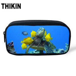 world stationery Coupons - THIKIN Underwater World Sea Turtle Print Women Make up Case Polyester Pencil Case Stationery Pen Bags Students Cosmetic bag