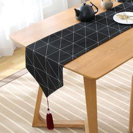 corredores da tabela do partido de borgonha Desconto Simples pastoral grade preta mesa de mesa corredor de café tapete de TV armário de poeira decoração de casa corredor de cama geométrica