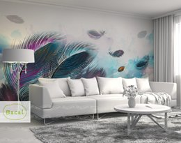 3d перо обои онлайн-Bacal Custom Mural Wallpaper 3D Fashion Colorful Hand Painted Feather Texture Wallpaper For Walls Roll Living Room Home Decor