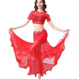 Lato oscillante online-2019 New Belly Dance Practice Clothes Off The Shoulder Lace Swing Side Swing Skirt Vestito sexy femminile