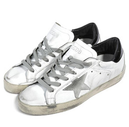 B cream en Ligne-Nouvelle arrivée Italie Marque Chaussures En Cuir Véritable Super Star Sneakers En Cuir Avec Daim Étoile Crème Size36-45