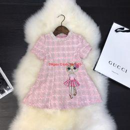 Kind mädchen gewebt kleider online-Designer Kleid Kinder Mädchen Kleidung Herbst neue wollene Kleid Hahnentritt Farbe Katze Design Prinzessin Rock