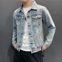 Mens Chaquetas de moda de primavera Solapa Color sólido Lavado Agujero  Vintage Chaqueta de mezclilla Hombres Diseñador Casual Chaqueta chaquetas  de lavado ... 1271abafeab