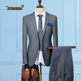 ternos slim fit suit Coupons - YiWuMenSa Ternos Para Hombre Light Grey Wedding Suits For Mens Custom Made mens suit Business Classic man suit slim fit
