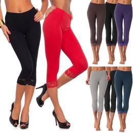 leggings de longitud recortada Rebajas Sexy 3/4 Leggings mujeres de las señoras del color del caramelo las polainas del estiramiento cosecharon los pantalones pantalones