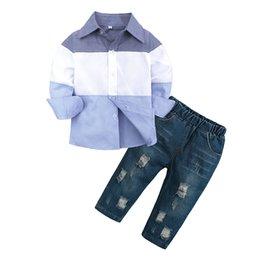 Дети в джинсах онлайн-Baby Kids Одежда новая детская одежда европейские и американские мальчики с длинными рукавами рубашки джинсовый костюм мальчик милый Одежда комплектов бесплатно