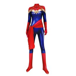 marvel spandex costumes Coupons - Adult Ms The avengers Captain Marvel Cosplay Costume Lycar Spandex High Quality Captain Marvel Superhero Zentai Party Bodysuit Jumpsuit