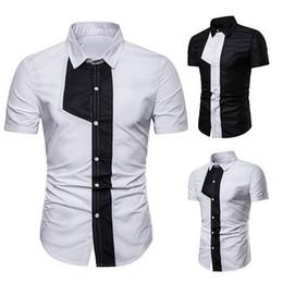 2019 camisa negra delgada corbata blanca 2019 NUEVA Camiseta de Verano de Manga Corta para Hombre de Diseño de Caballeros de Imitación de Imitación Corbata Camisa Patchwork Blanco Negro de Alta Calidad Delgado camisa negra delgada corbata blanca baratos
